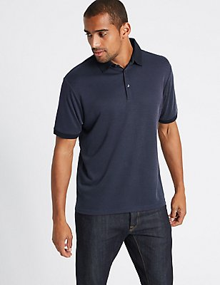Big & Tall Modal Rich Textured Polo Shirt, NAVY MIX, catlanding