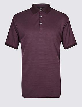 Big & Tall Modal Rich Textured Polo Shirt, AUBERGINE MIX, catlanding