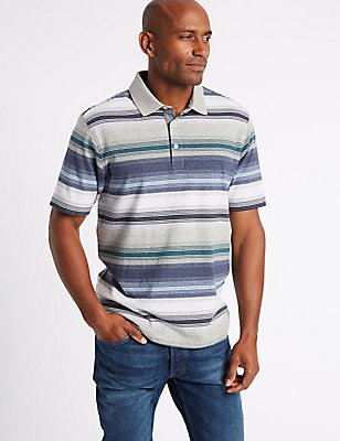 Pure Cotton Striped Polo Shirt, MID GREY MARL, catlanding