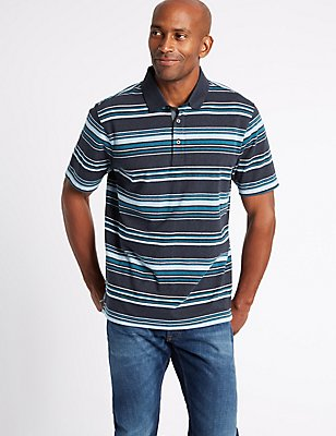 Pure Cotton Striped Polo Shirt, NAVY MARL, catlanding
