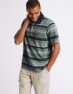Pure Cotton Striped Polo Shirt, FOREST GREEN, catlanding
