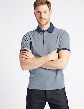 Modal Rich Slim Fit Textured Polo Shirt, BLUE MIX, catlanding