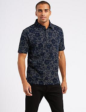 Slim Fit Pure Cotton Printed Polo Shirt, NAVY, catlanding