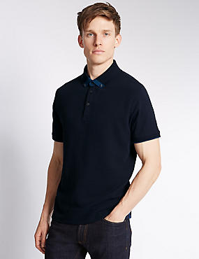 Tailored Fit Pure Cotton Polo Shirt, NAVY, catlanding