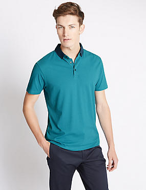 Pure Cotton Tailored Fit Dotted Polo Shirt, MARINE, catlanding