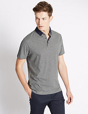 Pure Cotton Tailored Fit Dotted Polo Shirt, GREY MARL, catlanding