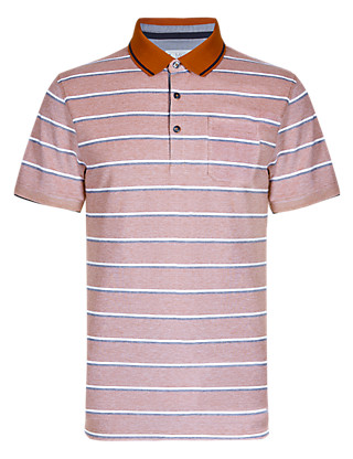 Cotton Rich Tailored Fit Birdseye Striped Piqué Polo Shirt Clothing