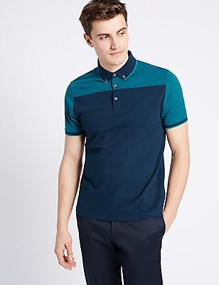 Slim Fit Pure Cotton Polo Shirt, TEAL MIX, catlanding