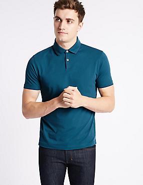 Slim Fit Pure Cotton Polo Shirt, DARK TEAL, catlanding