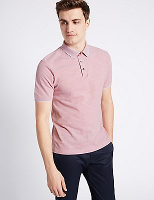 Slim Fit Pure Cotton Textured Polo Shirt, PINK MIX, catlanding