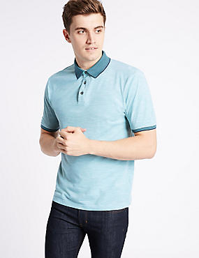 Slim Fit Pure Cotton Textured Polo Shirt, AQUA MIX, catlanding