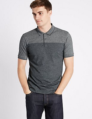 Cotton Blend Textured Polo Shirt, , catlanding
