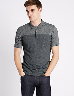 Cotton Blend Textured Polo Shirt, GREY MIX, catlanding