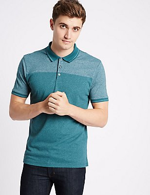 Cotton Blend Textured Polo Shirt, DARK KINGFISHER, catlanding