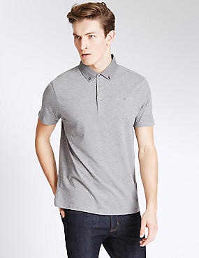 Slim Fit Polo Shirt, GREY MIX, catlanding