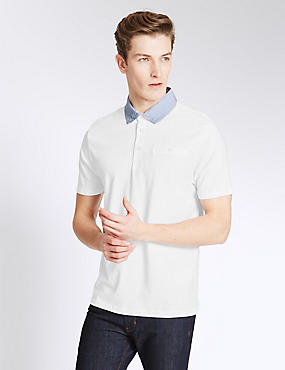 Slim Fit Cotton Rich Polo Shirt, WHITE, catlanding