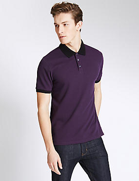 Slim Fit Textured Polo Shirt, BLACKCURRANT, catlanding