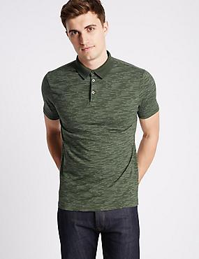 Pure Cotton Striped Polo Shirt, MEDIUM GREEN, catlanding