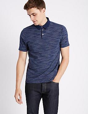 Pure Cotton Striped Polo Shirt, DARK MIDNIGHT, catlanding
