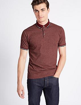 Cotton Blend Textured Polo Shirt, CRANBERRY, catlanding