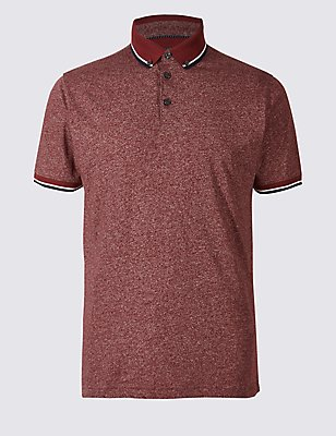 Cotton Blend Textured Polo Shirt, CRANBERRY, catlanding