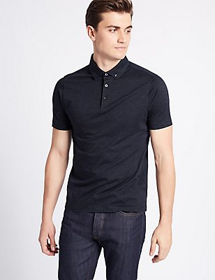 Slim Fit Pure Cotton Spotted Polo Shirt, DARK MIDNIGHT, catlanding