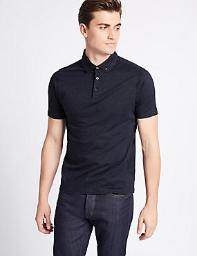 Pure Cotton Slim Fit Spotted Polo Shirt, DARK MIDNIGHT, catlanding