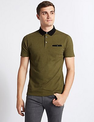 Pure Cotton Slim Fit Textured Polo Shirt, DARK OLIVE MIX, catlanding