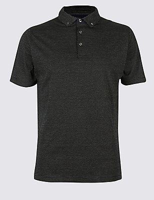 Pure Cotton Textured Polo Shirt, BLACK MIX, catlanding