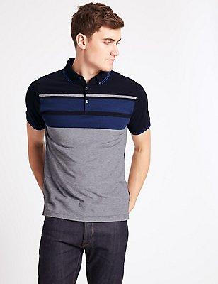 Strukturiertes Poloshirt aus reiner Baumwolle mit schmaler Passform, MARINEBLAU MELANGE, catlanding