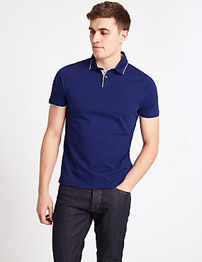 Slim Fit Pure Cotton Polo Shirt, COBALT, catlanding