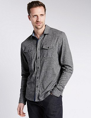 Pure Cotton Tailored Fit Textured Shirt, GREY, catlanding