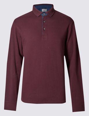 Рубашка-поло с длинным рукавом из чистого хлопка с вставками из денима M&S Collection T283611M