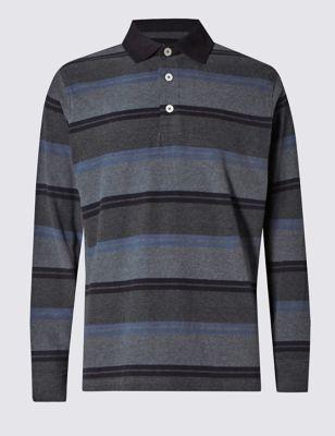 Ультрамягкая рубашка-поло из чистого хлопка в в стиле регби M&S Collection T283633M