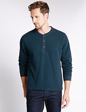 Pure Cotton Crew Neck Textured T-Shirt, TEAL, catlanding
