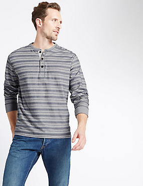 Pure Cotton Striped Long Sleeve T-Shirt, GREY MIX, catlanding