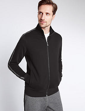 Pure Cotton Zipped Sweatshirt, BLACK, catlanding