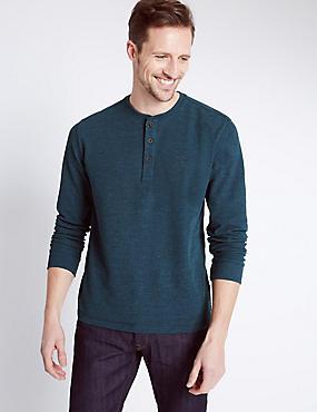 Textured Grandad Collar Top, DENIM, catlanding