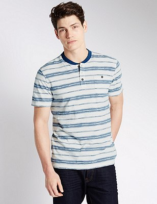 Pure Cotton Tailored Fit Jacquard Striped T-Shirt, ECRU MIX, catlanding