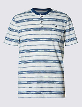 Pure Cotton Tailored Fit Jacquard Striped T-Shirt