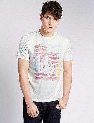 Palm Tree Graphic T-Shirt, ECRU, catlanding