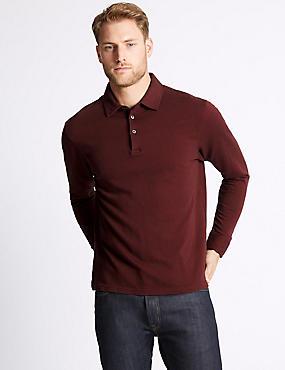 Pure Cotton Textured Polo Shirt, RUST MIX, catlanding
