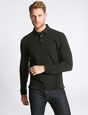 Pure Cotton Textured Polo Shirt, BLACK MIX, catlanding