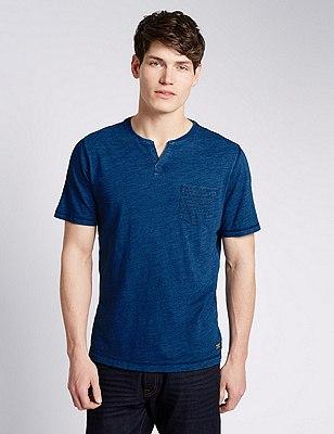 Indigo Dye T-Shirt with Pocket, INDIGO, catlanding