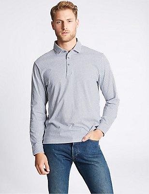 Pure Cotton Checked Polo Shirt, NAVY MIX, catlanding
