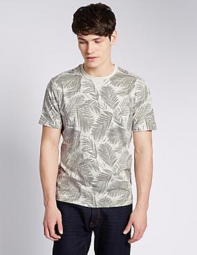 All Over Palm Leaf Graphic T-Shirt, ECRU MIX, catlanding
