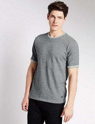 Crew Neck Tailored Fit T-Shirt, GREY MIX, catlanding