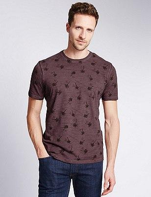 Mini Palm Tree Graphic T-Shirt, BURGUNDY, catlanding