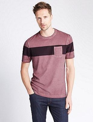 Chest Striped Cold Dye T-Shirt, BURGUNDY, catlanding