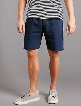 Cotton Rich Textured Shorts, NAVY, catlanding